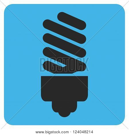 Fluorescent Bulb vector icon symbol. Image style is bicolor flat fluorescent bulb pictogram symbol drawn on a rounded square with blue and gray colors.