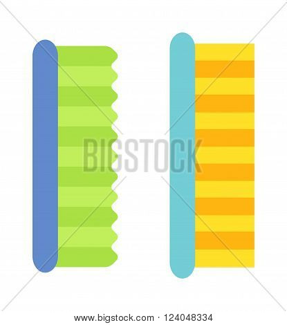 Two cleaning brushes hygiene tool and cleaning brush hand washing house symbols. Vector cleaning brush icon flat modern design house work equipment illustration.