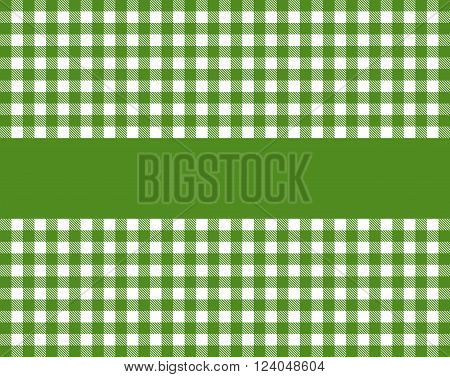 Traditional green tablecloth background with stripe for text