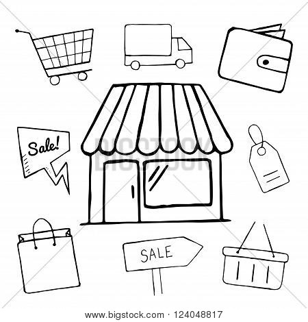 Set of business doodle icons. vector shopping icons for design hand drawn shop sale shopping bag basket objects