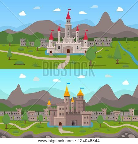 Two horizontal cartoon compositions with medieval ancient castles and fortress walls with loopholes on mountains background flat vector illustration