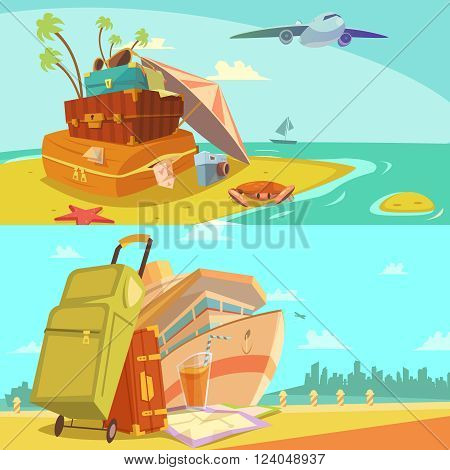 Travel horizontal banners set with voyage and beach resort symbols cartoon isolated vector illustration