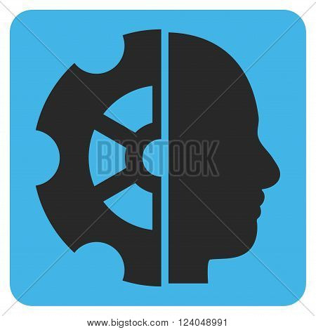 Intellect vector icon. Image style is bicolor flat intellect pictogram symbol drawn on a rounded square with blue and gray colors.
