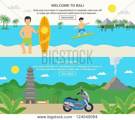 Bali travel banners surfing and sightseeing isolated vector illustration