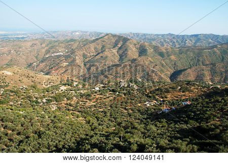 View over the Montanas de Malaga mountains towards the coast in the Axarquia region Malaga Province Andalusia Spain Western Europe.