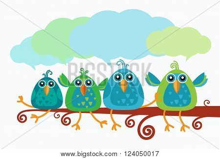 Group Of Birds Chat Communication Sitting on Branch Flat Vector Illustration