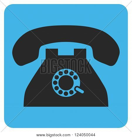 Pulse Phone vector pictogram. Image style is bicolor flat pulse phone pictogram symbol drawn on a rounded square with blue and gray colors.
