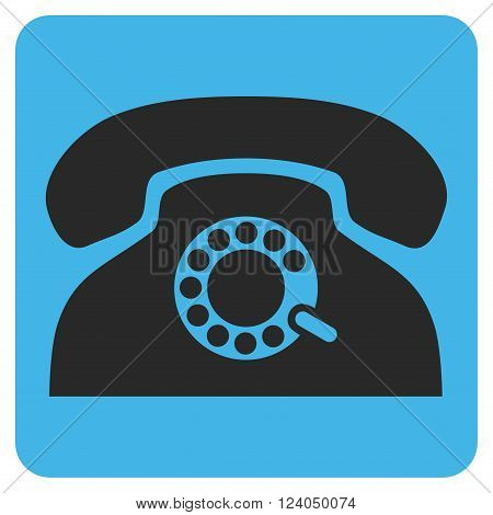 Pulse Phone vector pictogram. Image style is bicolor flat pulse phone iconic symbol drawn on a rounded square with blue and gray colors.