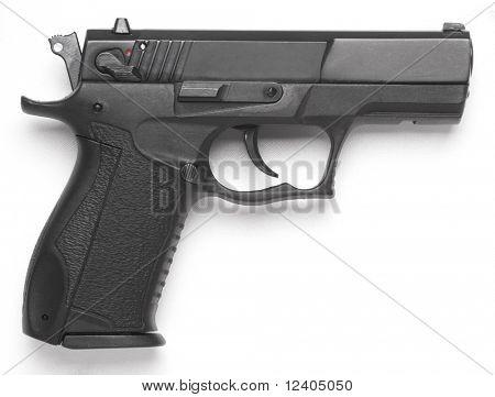leftside handgun close up isolated on white background