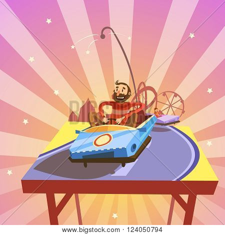 Amusement park cartoon with person riding an attraction car retro style vector illustration