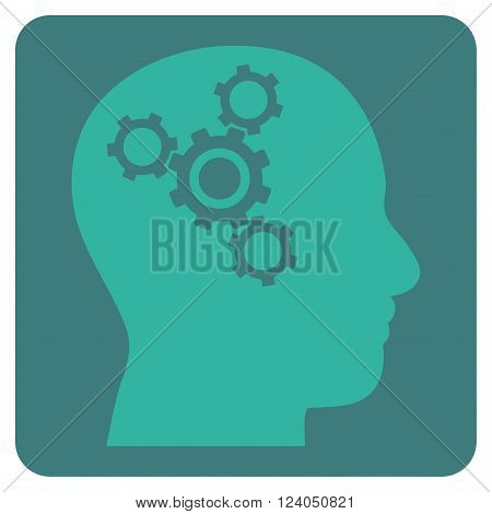 Brain Mechanics vector icon symbol. Image style is bicolor flat brain mechanics pictogram symbol drawn on a rounded square with cobalt and cyan colors.