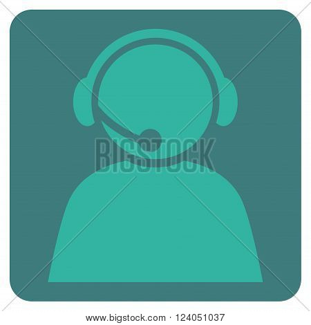 Call Center Operator vector icon. Image style is bicolor flat call center operator pictogram symbol drawn on a rounded square with cobalt and cyan colors.