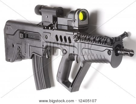 machine gun close up isolated on white background