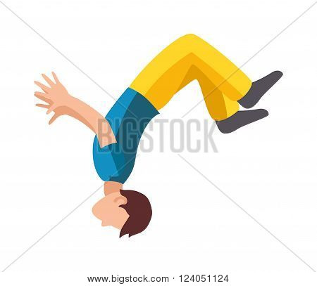 Parkour trick people extreme sport cartoon vector silhouette or city sport parkour trick people pose, parkour flat trick vector people jump, fall tricks.