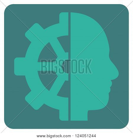 Cyborg Gear vector icon symbol. Image style is bicolor flat cyborg gear pictogram symbol drawn on a rounded square with cobalt and cyan colors.