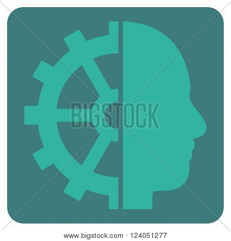 Cyborg Gear vector pictogram. Image style is bicolor flat cyborg gear iconic symbol drawn on a rounded square with cobalt and cyan colors.