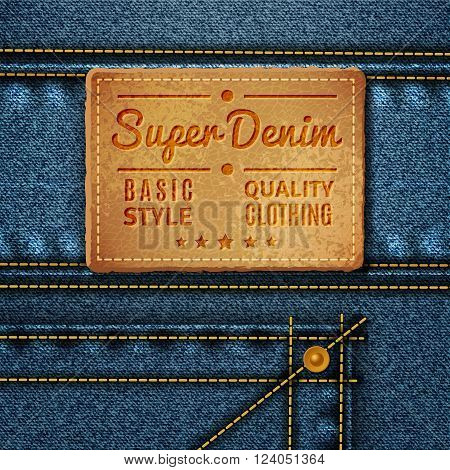 Leather tag with inscription and stars sewn on jeans in retro style vector illustration