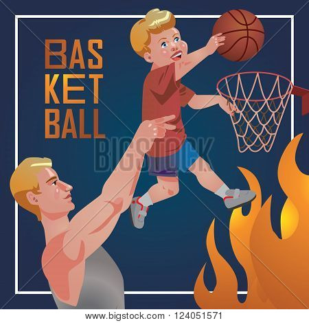 Children sport with parents - basketball.
