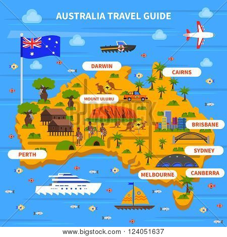 Australia travel guide with map flag ocean and sights flat vector illustration