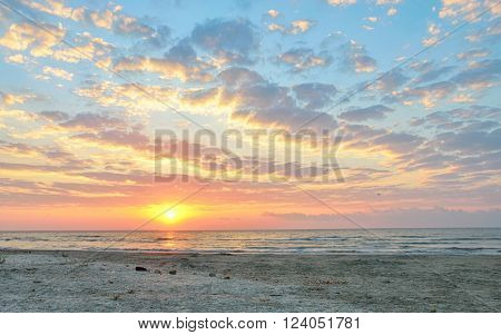 dramatic summer sunset sky and sea