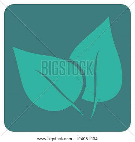 Flora Plant vector icon symbol. Image style is bicolor flat flora plant icon symbol drawn on a rounded square with cobalt and cyan colors.