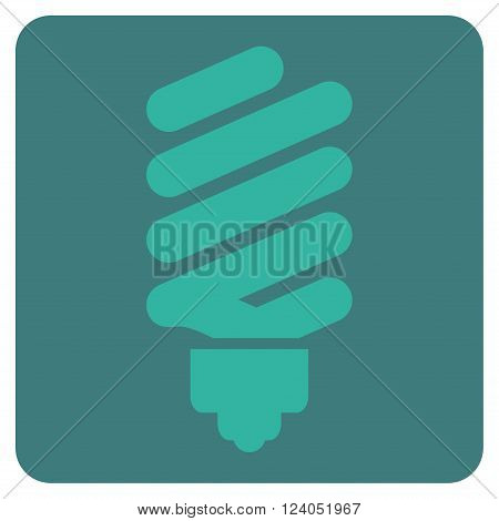Fluorescent Bulb vector symbol. Image style is bicolor flat fluorescent bulb pictogram symbol drawn on a rounded square with cobalt and cyan colors.