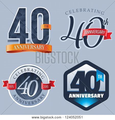 A Set of Symbols Representing a 40 Years Anniversary/Jubilee Celebration