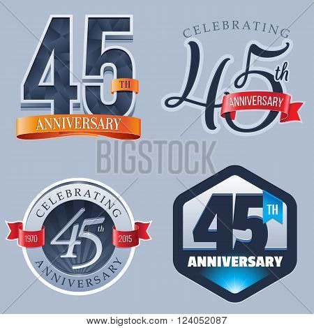 A Set of Symbols Representing a 45 Years Anniversary/Jubilee Celebration