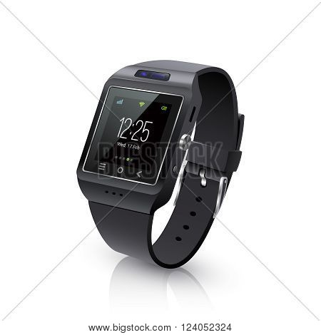 Smartwatch wearable computer accessory for timekeepnig and basic tasks wristwatch realistic black vector illustration