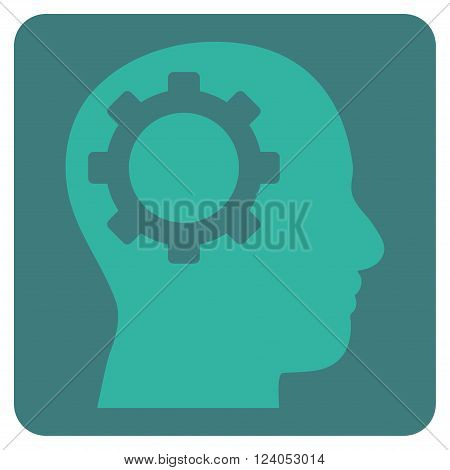 Intellect Gear vector pictogram. Image style is bicolor flat intellect gear pictogram symbol drawn on a rounded square with cobalt and cyan colors.