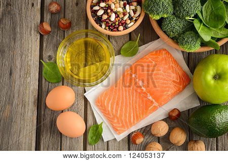 Selection of healthy products. Balanced diet concept.