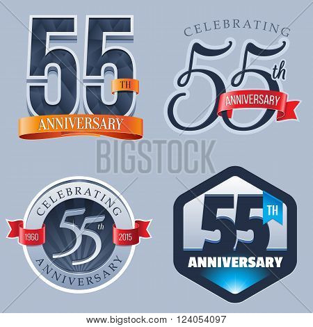 A Set of Symbols Representing a 55 Years Anniversary/Jubilee Celebration