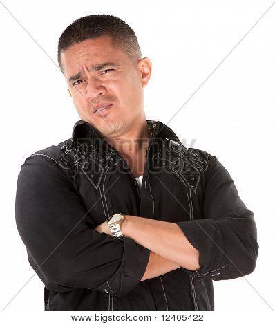 Suspicious Hispanic Man