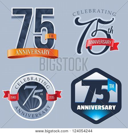 A Set of Symbols Representing a 75 Years Anniversary/Jubilee Celebration