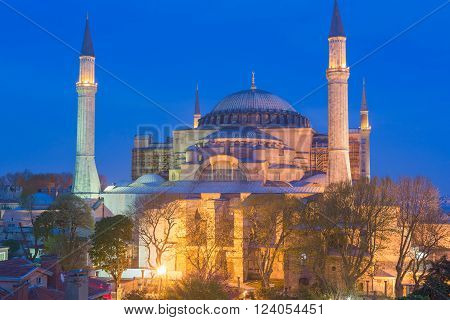 Hagia Sophia Byzantine church minaret towers and dome Istanbul, Turkey