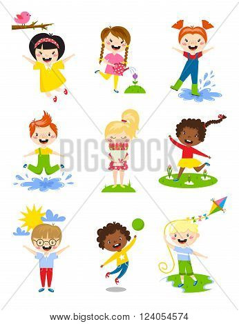 Kids play, enjoy spring and kids plaing arrival warm summer and little kids happy spring playing, watering flowers, jumping in puddle, carries bouquet, running, sun happy, launching kite vector.