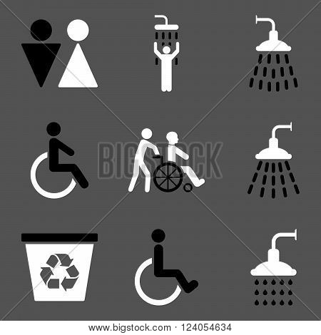 Toilet and Shower vector icon set. Style is bicolor black and white flat symbols isolated on a gray background.