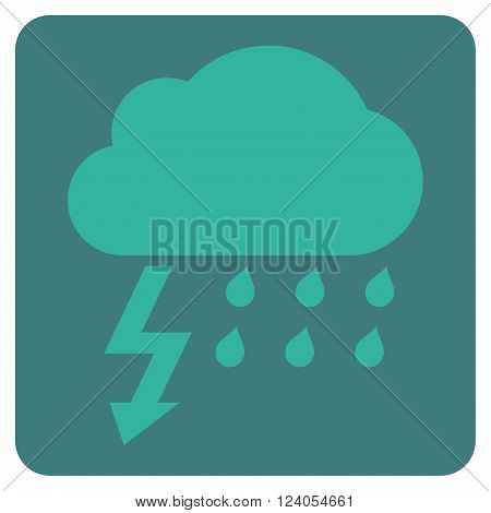 Thunderstorm vector icon. Image style is bicolor flat thunderstorm iconic symbol drawn on a rounded square with cobalt and cyan colors.