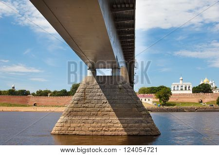 Geometry of the architecture. View of the bridge and Belfry of St. Sophia Cathedral - a monument of architecture  in the Novgorod Kremlin. Velikiy Novgorod city fortress. Christian churches of Russia