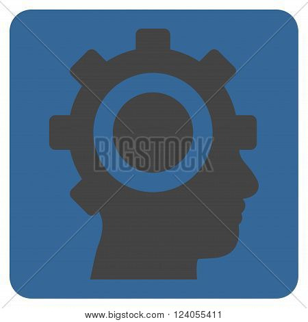 Cyborg Gear vector pictogram. Image style is bicolor flat cyborg gear iconic symbol drawn on a rounded square with cobalt and gray colors.