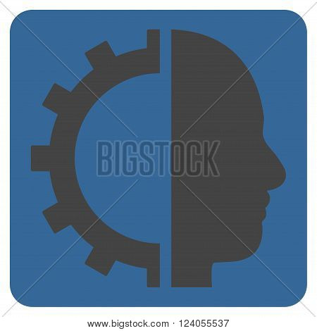 Cyborg Gear vector icon. Image style is bicolor flat cyborg gear icon symbol drawn on a rounded square with cobalt and gray colors.