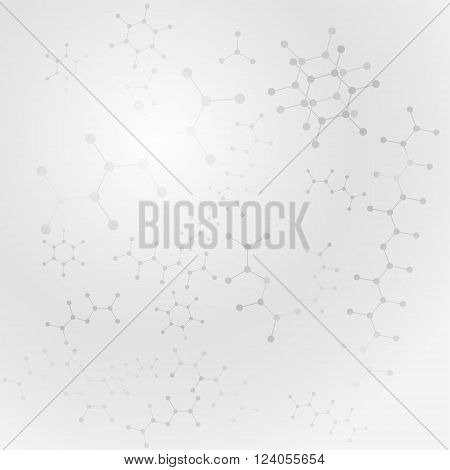 Scientific gray background with organic molecules, 2d vector illustration, eps 10