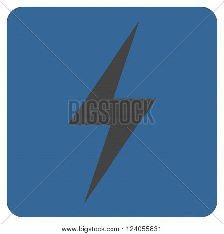 Electricity vector icon. Image style is bicolor flat electricity iconic symbol drawn on a rounded square with cobalt and gray colors.