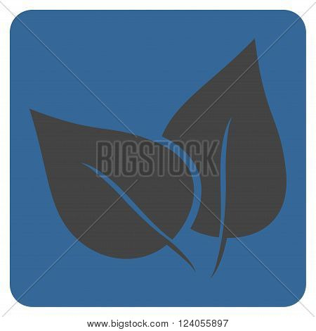 Flora Plant vector icon symbol. Image style is bicolor flat flora plant icon symbol drawn on a rounded square with cobalt and gray colors.