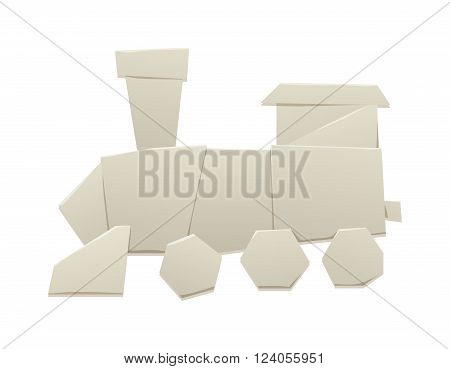 Cartoon paper origami train locomotive symbol and train passenger icon. Cartoon retro train paper vector symbol railway origami transport.