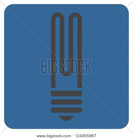 Fluorescent Bulb vector icon symbol. Image style is bicolor flat fluorescent bulb pictogram symbol drawn on a rounded square with cobalt and gray colors.