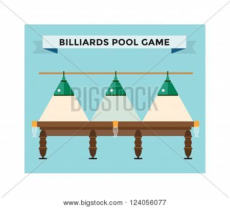 Playing billiard table concept vector illustration. Billiard championat
