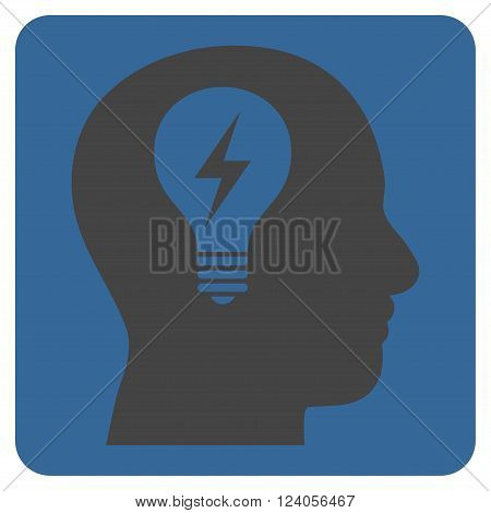 Head Bulb vector icon. Image style is bicolor flat head bulb icon symbol drawn on a rounded square with cobalt and gray colors.