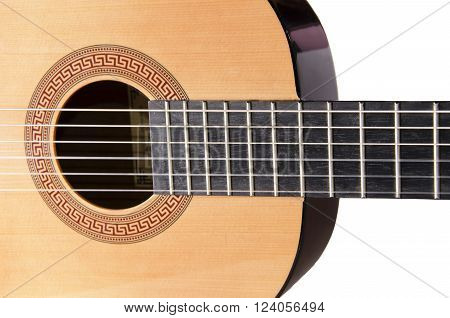 Closeup of strings of a classical acoustic guitar (isolated on white)