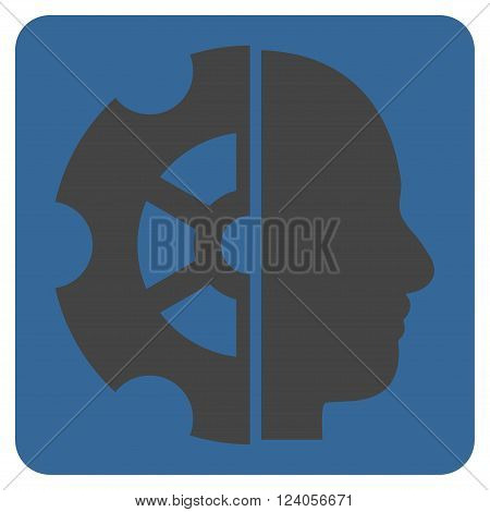 Intellect vector pictogram. Image style is bicolor flat intellect iconic symbol drawn on a rounded square with cobalt and gray colors.